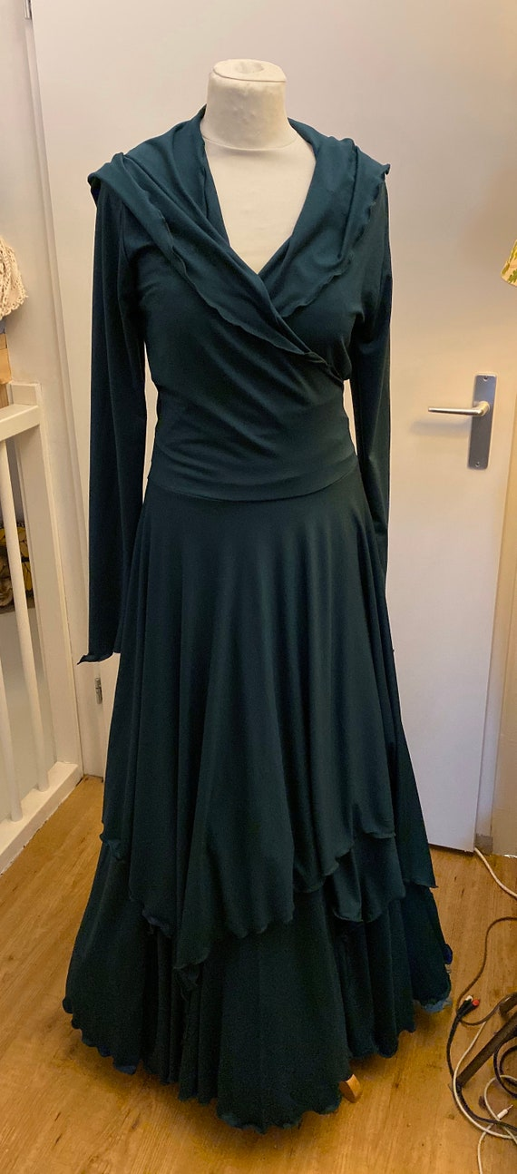 Beautiful wrap dress with hoodie and skirt. Set of dark green