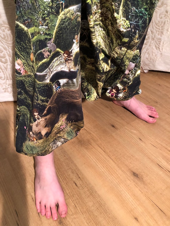 Harem pants with fantasy print of bears and elves in the green forest