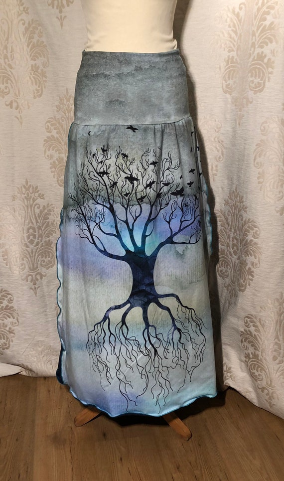 Petrol skirt with Tree of life and Raven. Digital Print
