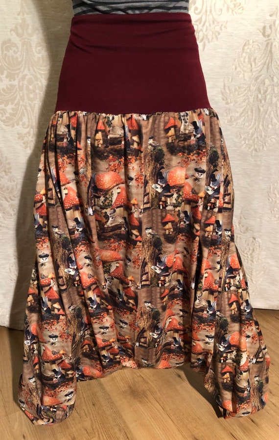 Harem pants with fantasy print with Noctuidae, mice and trees.