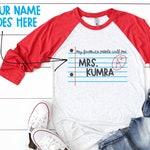 Custom Teacher Shirts/ My Favorite People Call Me/ School Spirit Shirts/ Teacher Name Shirts/ First Day of School/ Back to School/ Raglan