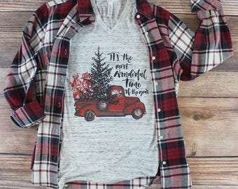 Christmas Truck Shirt/ Women's Christmas Shirt/ Christmas Shirt for Women/ Holiday Shirt/ Christmas Shirt with Red Truck/ Family/ Custom