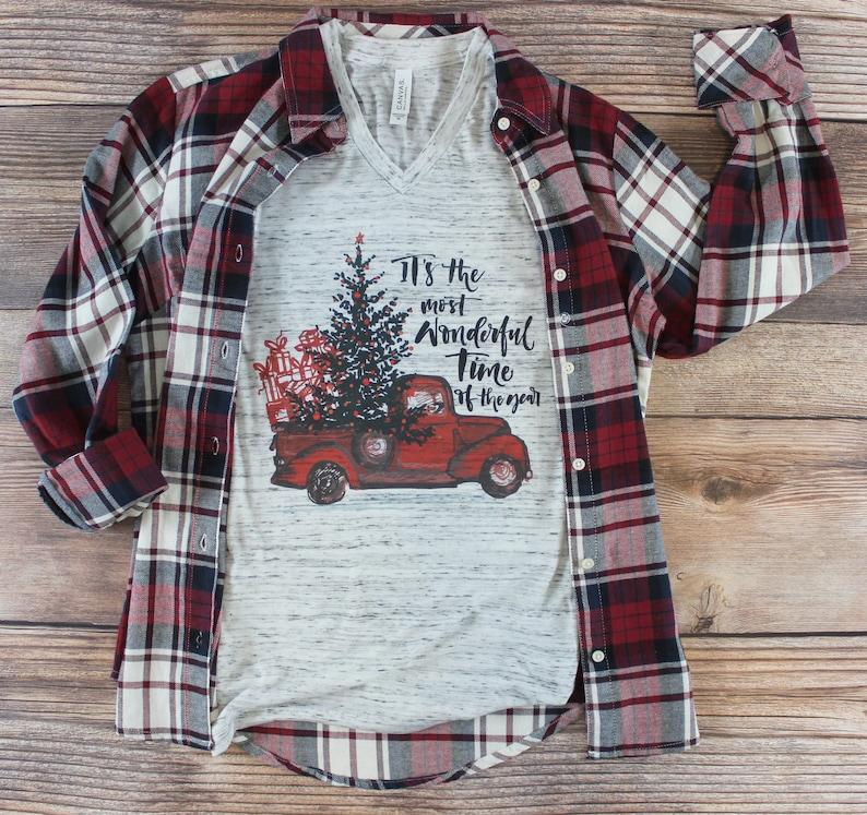 c3429f0f Christmas Truck Shirt/ Women's Christmas Shirt/ Christmas | Etsy