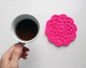Fluo pink kitchen, Dishrag, Hostess present, Tea time tabletop decoration, First home gift, Cottage chic decoration, Flower pot holder