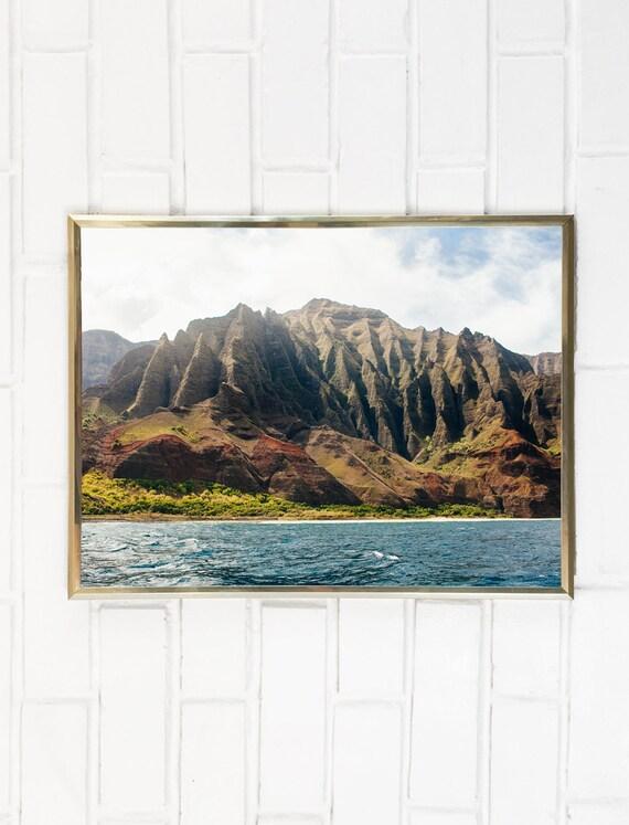 Coastline Tropical Landscape Coast Ocean Photo Island Mountain Water Photography Hawaii Art Na Pali Napali Beach Print Kauai zVSMpU