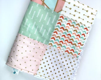 Pink, Mint, and Gold Baby Blanket, Arrows , Polka Dots and Chevron Plush White Blanket, Soft Patchwork Baby Blanket