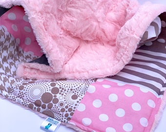 Pink and Gray Baby Blanket, Dots, Stripes, and Chevron Patchwork Quilt, Baby Pink Minky