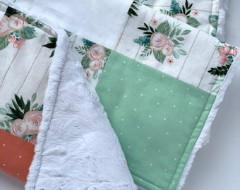 Pale Pink Roses, Coral and Mint Floral Baby Blanket, Plush White Blanket, Soft Patchwork Baby Blanket