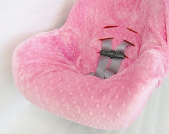 Luxurious Infant Car Seat Cover liner, Minky Dimple Dot liner, Infant carrier cover