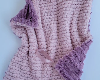Mini Minky Lovey Baby Blanket, Luxe Minky Blanket, Binky Saver Blanket, Rosewater and Mauve Minky Blanket