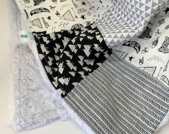 Black and White Patchwork Minky Blanket, Plush White Blanket, Adventure Baby Blanket