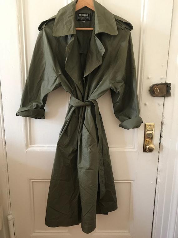 VINTAGE oversized trench coat / Olive green color