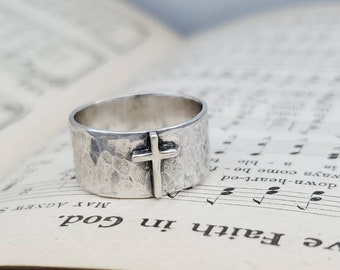 "Sterling ""Old Rugged"" Cross Ring / Faith / Rustic / Wide Band"