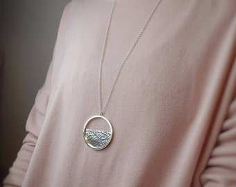 Long Sterling Circle Hammered Disc Necklace / Half Moon / Geometric / Large Disc