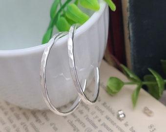 Sterling Hammered Hoop Earrings