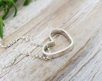Small Sterling Heart Necklace / Floating Heart Necklace