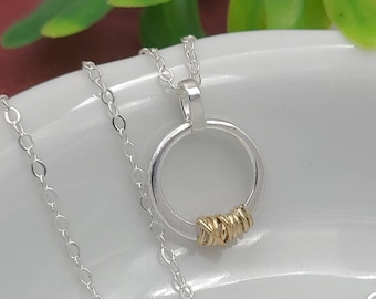 Dainty Sterling Silver with Gold Wrap Circle Pendant Necklace