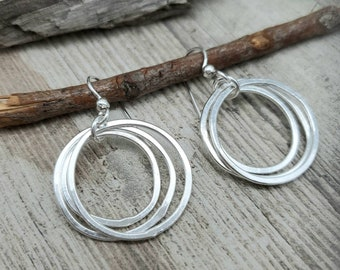 Sterling Multi Circle Hoop Earrings