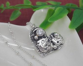 Sterling Silver Heart Necklace / OOAK