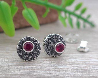 Sterling Garnet Luna Fire Stud Earrings / January Birthstone