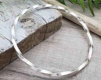 Sterling Silver Bangle Bracelet /  Twisted