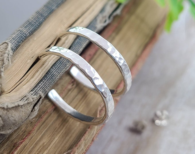 Featured listing image: Sterling Hammered Hoop Earrings / 3/4 Inch / 1 Inch / 1.5 Inch / 2 Inch