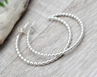 Sterling Beaded Hoop Earrings / Large Hoops