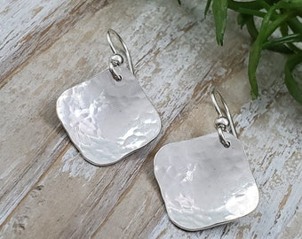 "Sterling Silver Square Hammered Frechwire Earrings ""Square Up"""
