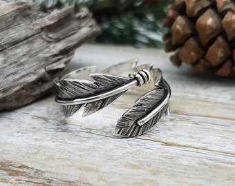 Sterling Feather Ring / Silver Feather / Adjustable  / Bypass Ring / Wrap Ring