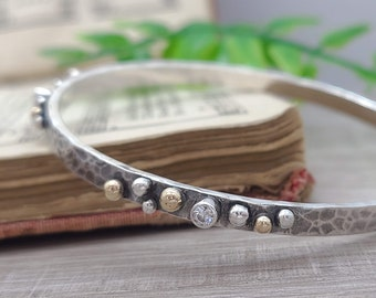 Sterling Silver & Gold Wide Hammered Bangle / Chunky /Goddess