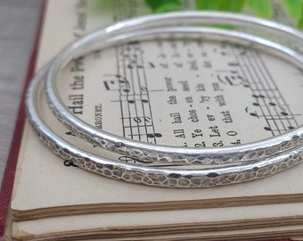 Chunky Rustic Sterling Silver Hammered Bangle Bracelet / Thick bangles