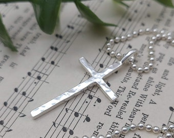 MENS Sterling Silver Cross Necklace