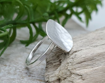 Sterling Silver Hammered Disc Ring / Wavy Ring / Domed Disc