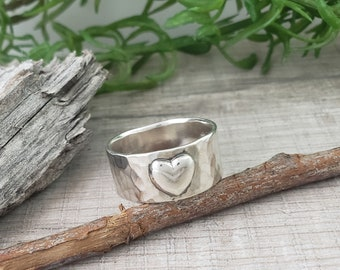 Sterling Wide Band Heart Ring