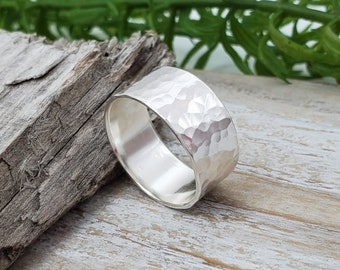 Sterling Silver Wide Band Hammered Ring / Minimalist  / Simple / Textured