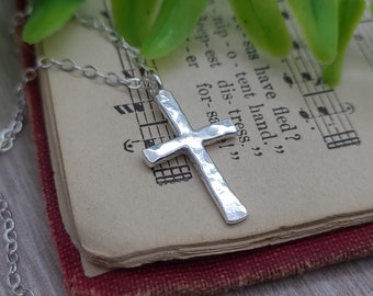 Sterling Silver Small Cross Necklace / Dainty / Faith Necklace /  Inspirational Jewelry