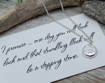 Sterling Silver Stepping Stone Necklace / Believe  / Grief / Journey / Faith / Inspirational Jewelry / This To Shall Pass