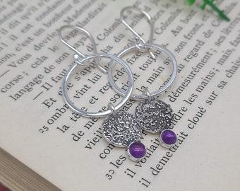 Sterling Silver Amethyst Earrings / Sterling Circle Earrings / Ornate