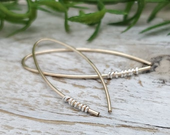 Gold  Sterling Wrapped Theader Earrings / Threaders / Thin Earrings