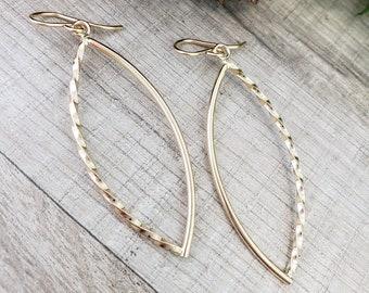 Gold Hoop Earrings / Long Gold Earrings / Marquise Earrings