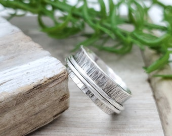 Rustic Sterling Silver Spinner Ring / Fidget Ring / Meditation Ring / Wide Band Ring