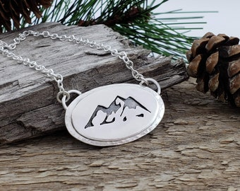 Sterling Silver Mountains Necklace / Nature / Mountain Peek / Mountain Scene / Hiker / Camper