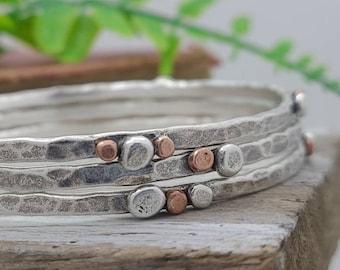 Rustic Sterling Silver and Copper Bangle Bracelet  / Hammered