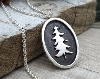 Sterling Silver Pine Tree Necklace / Nature / Hiker / Camper