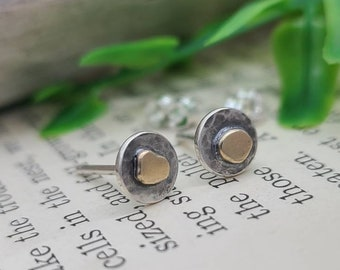 Sterling & Solid Gold Hammered Stud Post Earrings