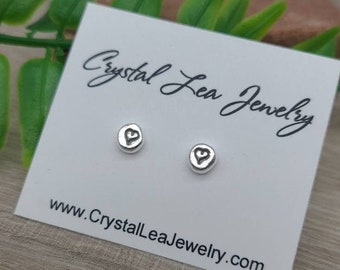 Sterling Heart Stud Earrings