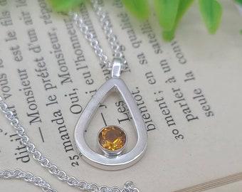 Sterling Silver & Golden Citrine Necklace / November / Birthstone