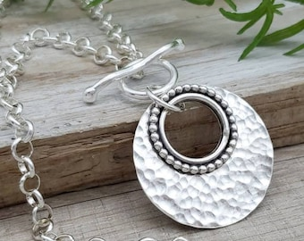 Large Sterling Silver Ornate Disc Necklace / Hammered Disc Necklace / Front Clasp Necklace / Silver Disc Necklace