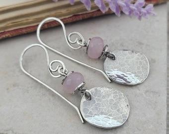 Sterling Silver Rustic Rose Quarts Earrings