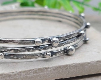 Rustic Sterling Silver Bangle Bracelet SET OF 3 / Sterling Baubles / Hammered / Adorned